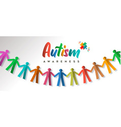 Autism awareness day colorful paper cut kid banner vector