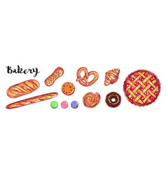 bakery and bread collection different vector image