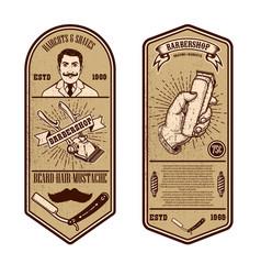 Barber shop flyer template tools on grunge vector