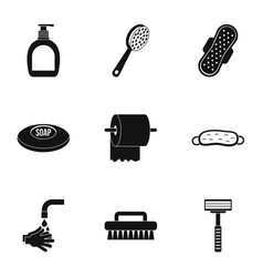 Bathroom things icons set simple style vector