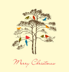 birds christmas tree greeting card colorful cute vector image