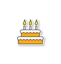 birthday cake patch vector image