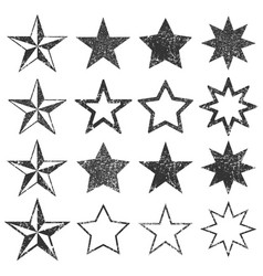 black star shape empty stamps frames icon vector image