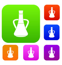 bottle with olive oil set collection vector image
