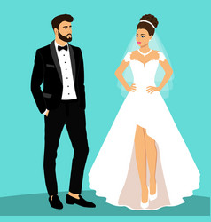 Bride and groom couple wedding card with the vector