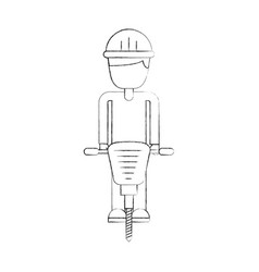 builder with hydraulic hammer isolated icon vector image
