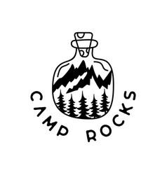 camping adventure badge design outdoor crest logo vector image