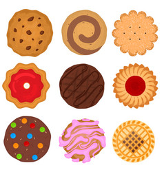 cartoon color round cookies icons set vector image