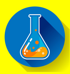 Chemical lab flask with liquid icon flat design vector