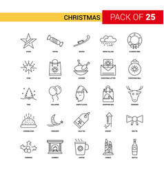 Christmas black line icon - 25 business outline vector