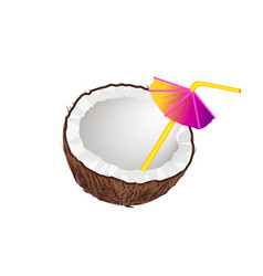 cocktail straw with umbrella vector image