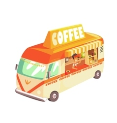 Coffee Shop Cafe In Mini Bus On Sunny Day vector image