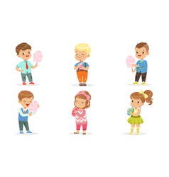 Collection cute happy kids enjoying eating vector