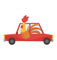 colored kids transport with cute little cock or vector image