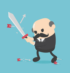 concept elderly businessman holding sword fight vector image