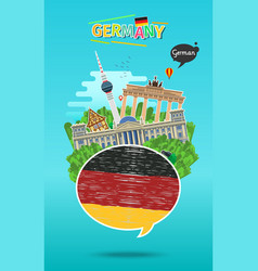 Concept of travel or studying german vector