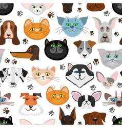 Dog and cat seamless pattern Pets animals vector