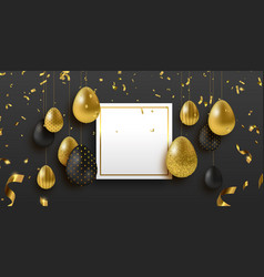 easter card template with gold and black eggs vector image