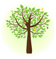 ecological tree with butterflies flying around vector image