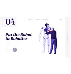 Engineer scientists character programming robot vector