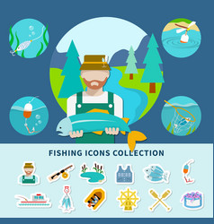 Fishing icons collection background vector