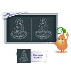 Game find 9 differences buddha vector