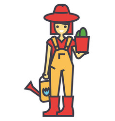 Gardener woman with plant and watering can vector