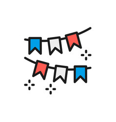Garland flags party decoration flat color line vector