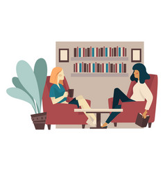Girlfriends drink tea and talking in home library vector