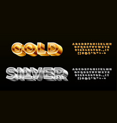 gold silver font styling alphabet modern 3d vector image