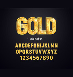 golden alphabet set gold letters and vector image
