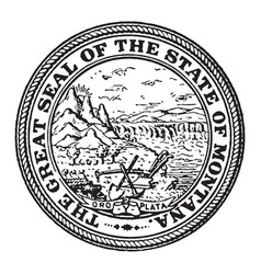 great seal state montana vintage vector image