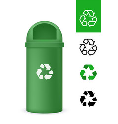 green plastic garbage bin with recyclable symbol vector image