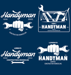 Handyman labels badges emblems design elements vector