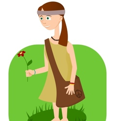 Hippie girl with flower in hand vector image
