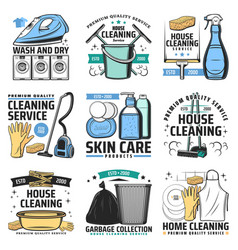House cleaning and hygiene icons vector