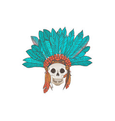 human skull with american indian feather headdress vector image