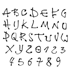 Ink font and number alphabet over white vector