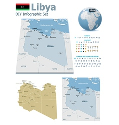 Libya maps with markers vector