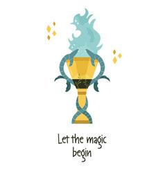 Magic goblet fire vector