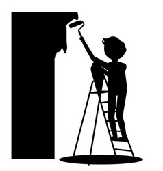 man painting wall vector image