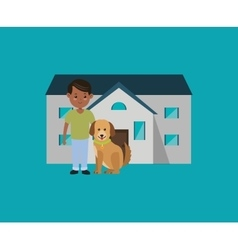 Man with dog in front of house image vector