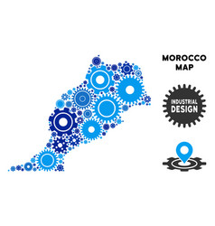 Mosaic morocco map of gears vector