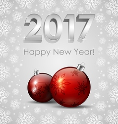 New 2017 Year and red Baubles with snowflakes vector