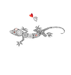 Ornamental beautiful gecko vector