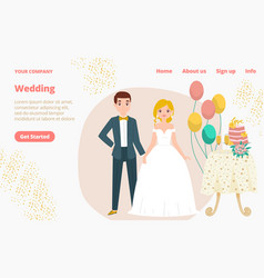 Pair wedding character in suit modern style vector