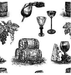 Pattern theme wine making vector