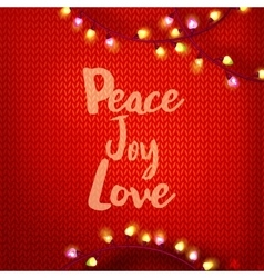 Peace Joy Love on red kniting vector image