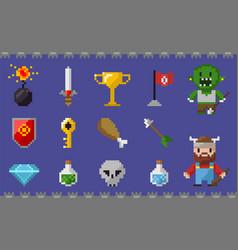 Pixel icons set chicken leg skull viking diamond vector