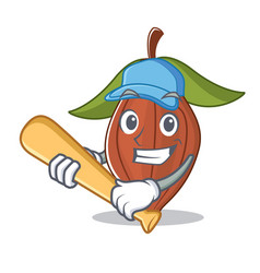 playing baseball cacao bean character cartoon vector image